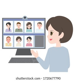 Illustration of a woman having an online meeting on her pc at home.