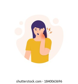illustration of a woman holding her neck because the neck feels stiff and sore. experiencing neck pain, muscle pain, osteoarthritis, pinched nerves, rheumatism, and fibromyalgia. flat style design