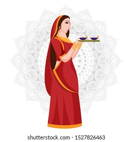 Illustration of woman holding plate of oil lamp (Diya) standing on mandala pattern background.