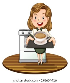 Illustration of a woman holding a tray with a hot drink on a white background