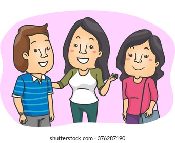 Illustration of a Woman Introducing Her Friend to Other People