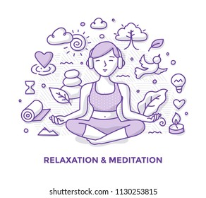 Illustration of woman, meditating in lotus pose, listening to music with headphones and relaxing. Mindfulness and meditation doodle concept