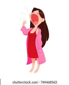 Illustration woman in nightwear and robe standing yawn, isolate on white background, Vector Cartoon