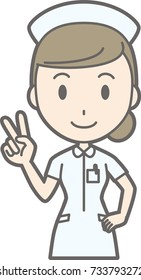 Illustration of a woman nurse wearing white in peace sign