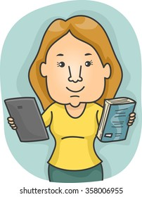 Illustration of a Woman Offering a Tablet and a Book as Options
