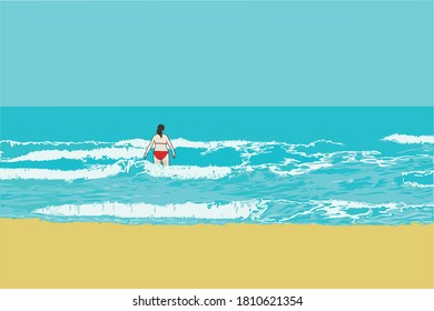 Illustration of a woman on a beach, with the mediterranean sea and the horizon in the background