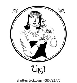 Illustration with a woman on the theme of theft.