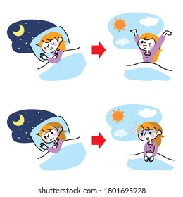 Illustration of a woman with a pleasant sleep and insomnia.