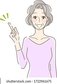 笑顔で指差す女性のイラスト