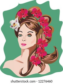 illustration with woman portrait with hairstyle and flowers