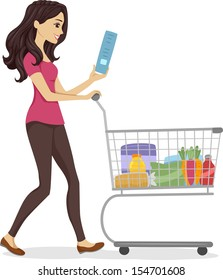 Illustration of a Woman Pushing a Cart Filled with Grocery Items