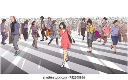 Illustration of woman in red dress crossing road with city crowd in color