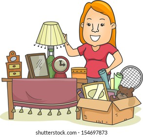Illustration Of A Woman Standing Beside A Box Full Of Assorted Items Woman Cleaning Her House