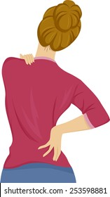 Illustration of a Woman Suffering From Back Pain