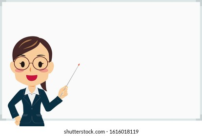 Illustration of a woman in a suit holding a pointing stick in front of a whiteboard