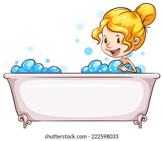 Illustration of a woman taking a bath