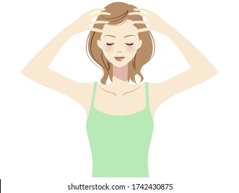 Illustration of a woman taking self care of her hair