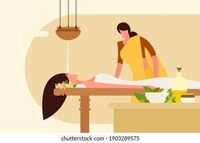 Illustration of a woman undergoing Indian traditional Ayurvedic massage