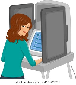 Illustration of a Woman Using an Automated Machine to Vote