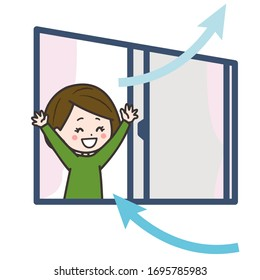 illustration of a woman in a well ventilated room. Vector image.