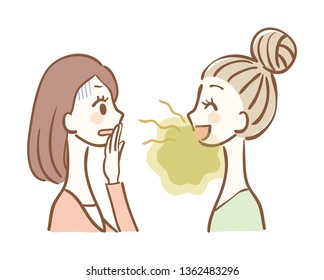 Illustration of a woman who does not notice bad breath