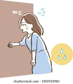 Illustration of a woman who has a desire to urinate