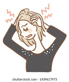 Illustration of a woman who has itchy scalp