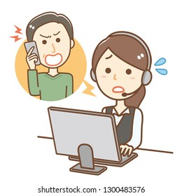Illustration of a woman working at a call center.She is dealing with complaints.