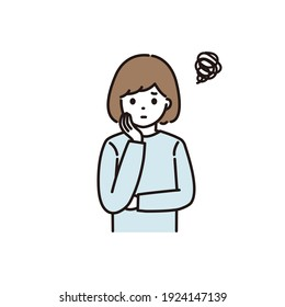 Illustration of a woman worried about wearing a cheek stick