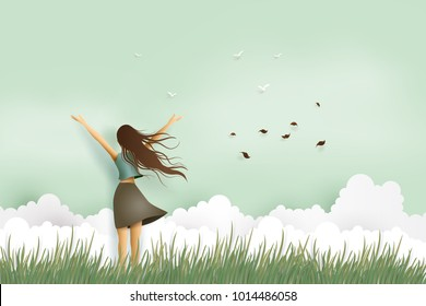 Illustration of  woman's day,Funny beautiful girl embrace on the field .paper art and digital craft style.