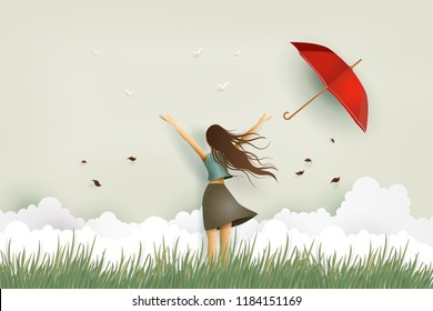 Illustration of  woman's day,Funny beautiful girl and red umbrella on the field .paper art and craft style.