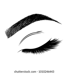 Illustration with woman's eye wink, eyebrow and eyelashes. Makeup Look. Tattoo design.