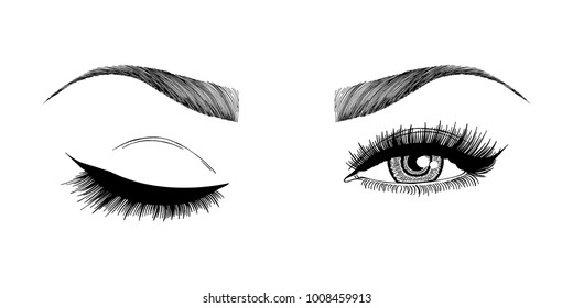 Illustration with woman's eye wink, eyebrows and eyelashes. Makeup Look. Tattoo design.