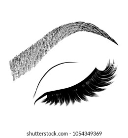 Illustration with woman's eye wink, eyebrows and eyelashes. Makeup Look. Tattoo design. Logo for brow bar or lash salon.