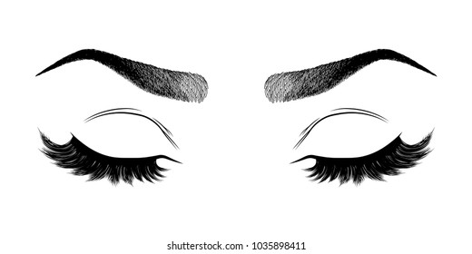 Illustration with woman's eyes, eyebrows and eyelashes. Makeup Look. Tattoo design.