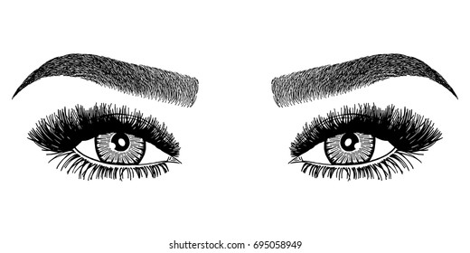 Illustration with woman's eyes and eyebrows. Makeup Look. Tattoo design.