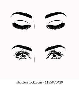 Illustration with woman's eyes, eyelashes and eyebrows. Makeup Look. Logo for brow bar or lash salon.