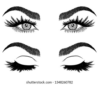 Illustration with woman's eyes, eyelashes and eyebrows. Makeup Look. Tattoo design. Logo for brow bar or lash salon.
