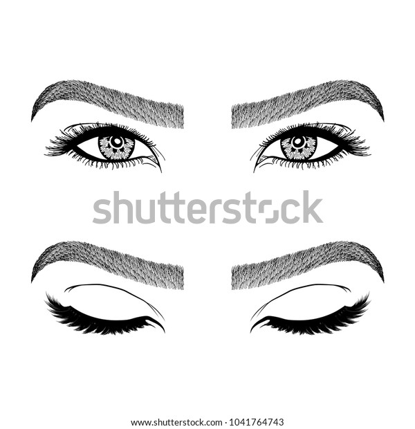 f6c36c9f3b6 Illustration with woman's eyes, eyelashes and eyebrows. Makeup Look. Tattoo  design. Logo