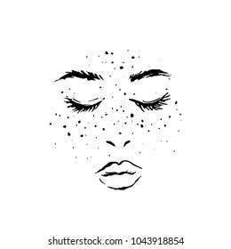 Illustration of a woman's face with freckles and long eyelashes.