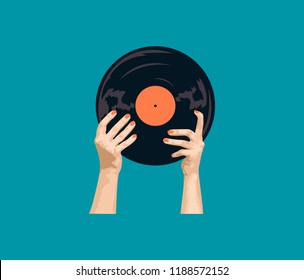 Illustration of woman's hands with vinyl record on blue background. EPS 10. Print for tee, t-shirt.