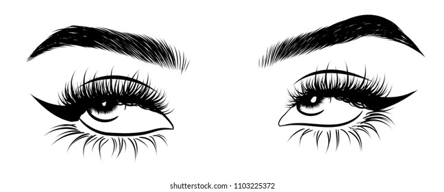 Illustration of woman's sexy expressive interesting catchy eye with perfectly shaped eyebrows and full lashes.Hand-drawn Idea for business visit card, typography vector.Perfect salon look.Hollow style
