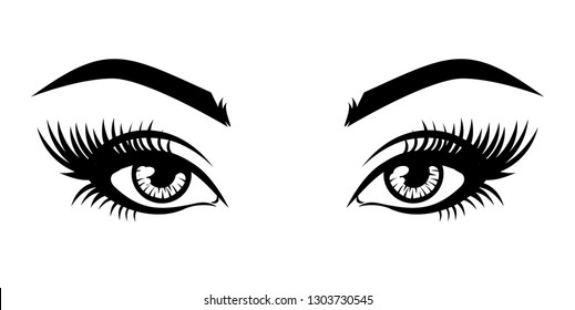 Illustration of woman's sexy luxurious eye with eyebrows and full lashes. Idea for business visit card, typography vector. Perfect salon look.