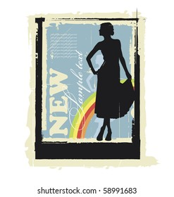 Illustration woman's silhouette. Behind them is a rainbow. Near this area there are a field for text.