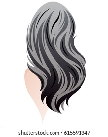 illustration of women long hair style, women back on white background, vector