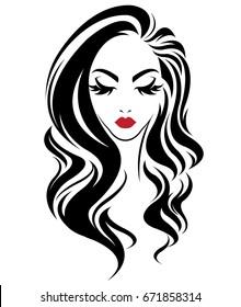 illustration of women long hair style icon, logo women on white background, vector