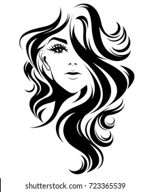 illustration of women long hair style icon, logo women on white background, vector