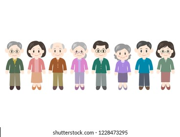 Illustration of women and men: middle and old age