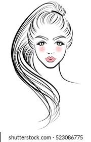 illustration of women ponytail hair style icon, logo women face on white background, vector