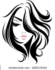 illustration of women short hair style icon, logo women on white background, vector